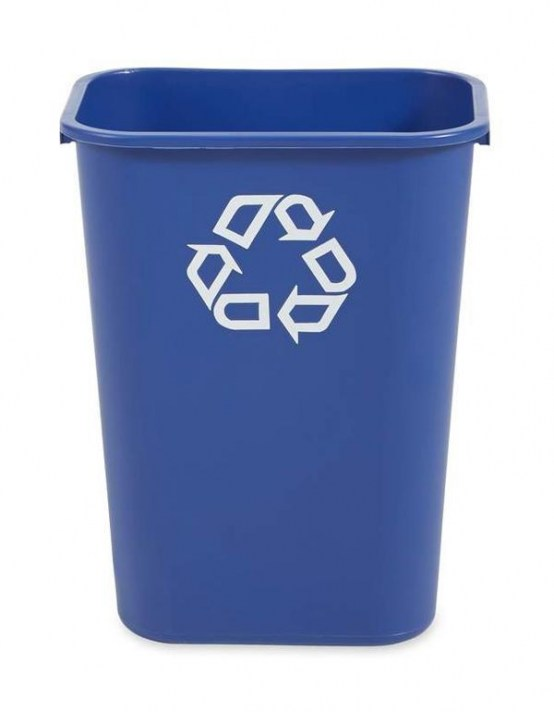 Rectangular Wastebasket 39ltr Blue